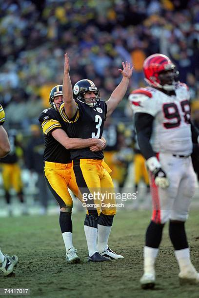 Kicker Jeff Reed of the Pittsburgh Steelers is hugged by holder Josh Miller after kicking a field goal against the Cincinnati Bengals at Heinz Field...