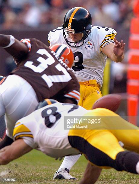 Kicker Jeff Reed of the Pittsburgh Steelers kicks a 46 yard field goal against the Cleveland Browns during the fourth quarter on November 23 2003 at...