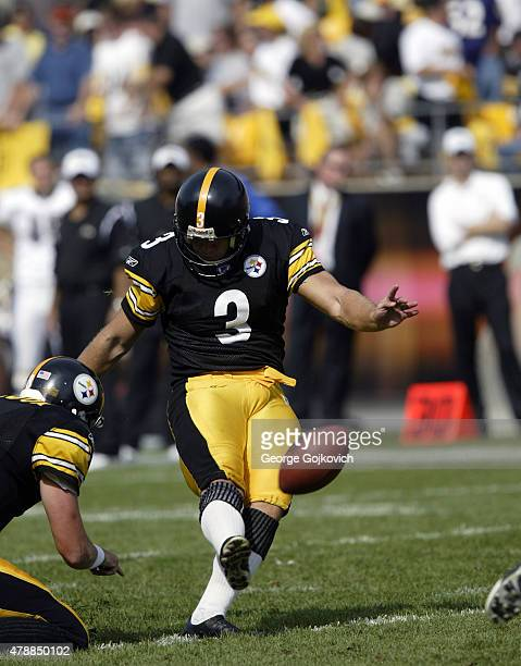 Kicker Jeff Reed of the Pittsburgh Steelers kicks on a hold by Josh Miller during a game against the Baltimore Ravens at Heinz Field on September 7...
