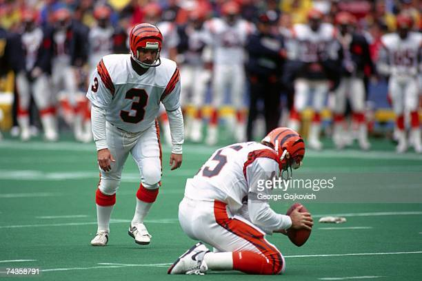 Kicker Jim Breech of the Cincinnati Bengals waits for holder Turk Schonert to place the football before attempting a kick against the Pittsburgh...
