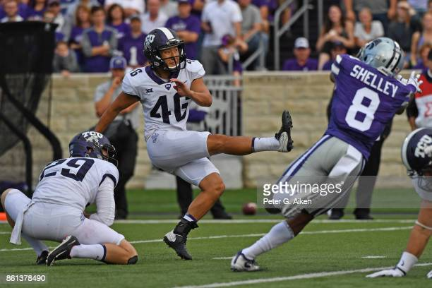 Kicker Jonathan Song of the TCU Horned Frogs kicks a filed goal against the Kansas State Wildcats during the first half on October 14 2017 at Bill...