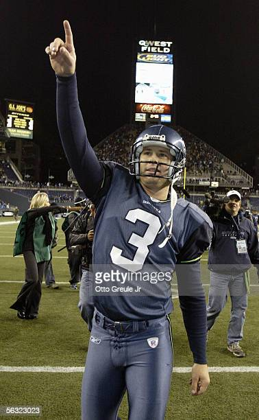 Kicker Josh Brown of the Seattle Seahawks gestures on the field following the game against the New York Giants at Qwest Field on November 27, 2005 in...