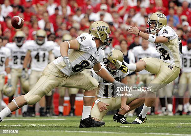 Kicker Josh Cummings of the Pittsburgh Panthers watches his field goal attempt get blocked in the first quarter against the Nebraska Cornhuskers on...