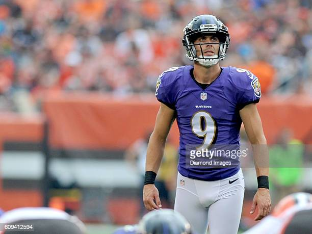 Kicker Justin Tucker of the Baltimore Ravens awaits the snap on an extra point attempt during a game against the Cleveland Browns on September 18...