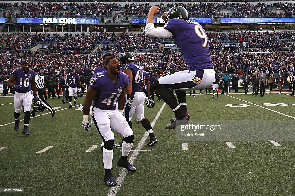 Kicker Justin Tucker #9 of the Baltimore Ravens celebrates after kicking the game-winning field goal in the fourth quarter against the San Diego Chargers at M&T Bank Stadium on November 1, 2015 in Baltimore, Maryland.