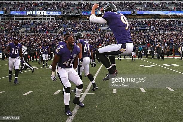 Kicker Justin Tucker of the Baltimore Ravens celebrates after kicking the gamewinning field goal in the fourth quarter against the San Diego Chargers...