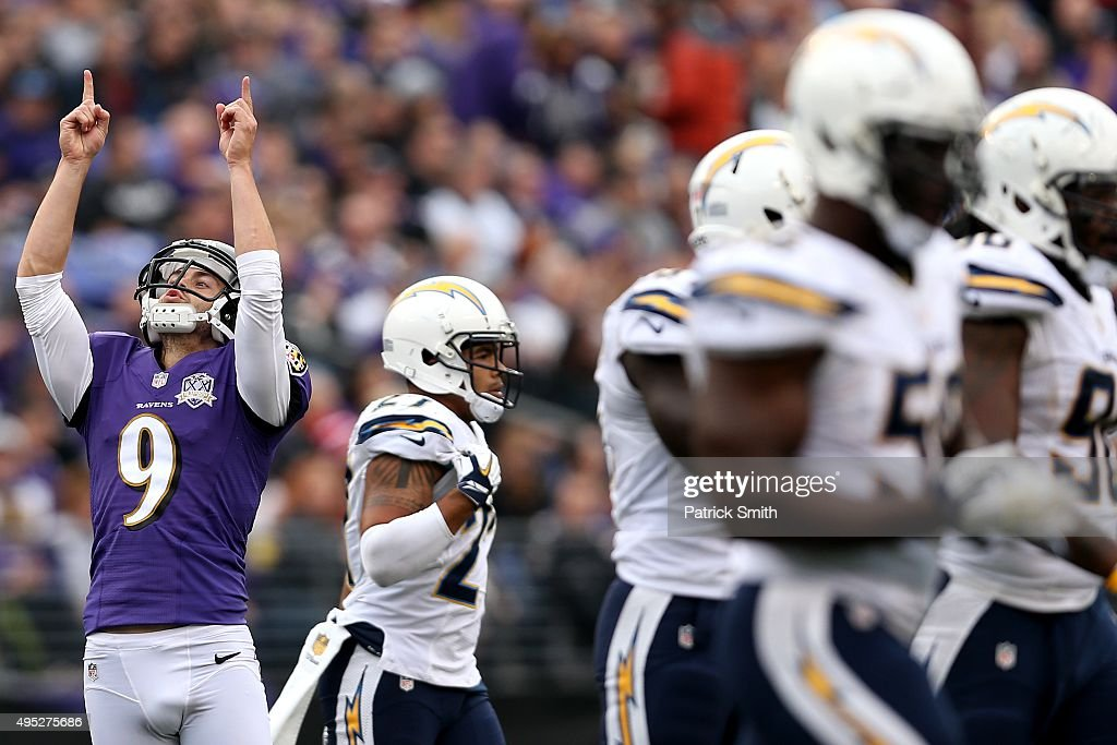 Kicker Justin Tucker #9 of the Baltimore Ravens celebrates after kicking a third quarter field goal against the San Diego Chargers at M&T Bank Stadium on November 1, 2015 in Baltimore, Maryland.