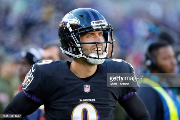 Kicker Justin Tucker of the Baltimore Ravens looks on from the sideline during the second quarter against the Pittsburgh Steelers at MT Bank Stadium...