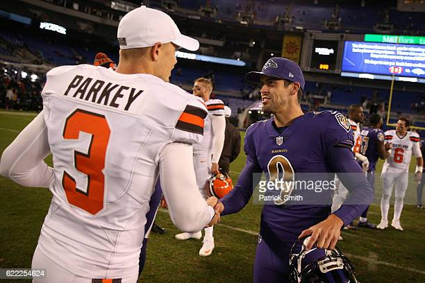 Kicker Justin Tucker of the Baltimore Ravens meets with kicker Cody Parkey of the Cleveland Browns after the Baltimore Ravens defeated the Cleveland...