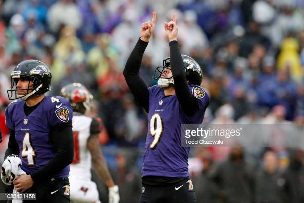 Kicker Justin Tucker of the Baltimore Ravens reacts after kicking at field goal in the second quarter against the Tampa Bay Buccaneers at MT Bank...