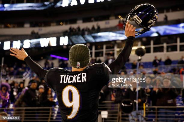 Kicker Justin Tucker of the Baltimore Ravens waves to fans after the Ravens win 2316 over the Houston Texans at MT Bank Stadium on November 27 2017...