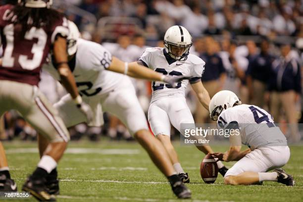 Kicker Kevin Kelly of the Penn State Nittany Lions kicks a field goal against the Texas AM Aggies during the Valero Alamo Bowl on December 29 2007 at...