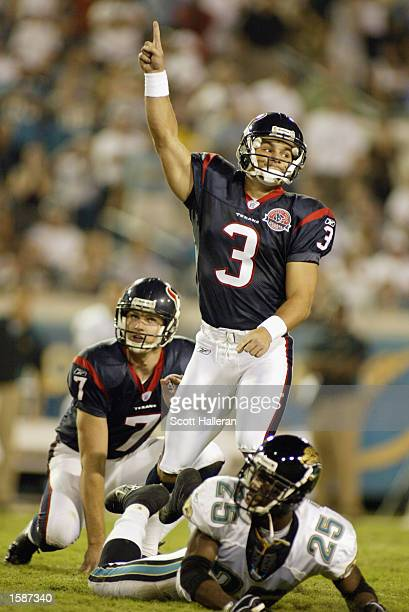 Kicker Kris Brown of the Houston Texans celebrates his gamewinning field goal late in the game to defeat the Jacksonville Jaguars 2119 as...