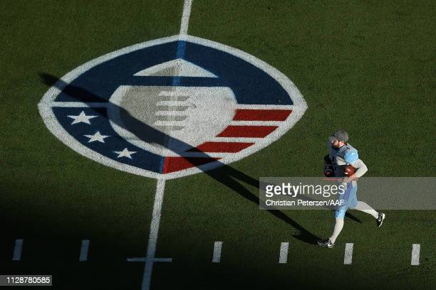 Kicker Kyle Bertolet of the Salt Lake Stallions warms up before the Alliance of American Football game against the Arizona Hotshots at Sun Devil...