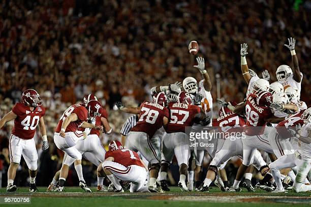 Kicker Leigh Tiffin of the Alabama Crimson Tide kicks a field goal against the Texas Longhorns in the Citi BCS National Championship game at the Rose...