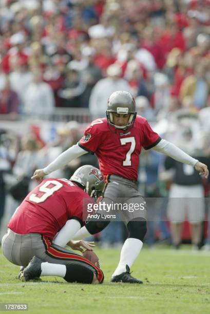 Kicker Martin Gramatica of the Tampa Bay Buccaneers kicks the ball from a hold by punter Tom Tupa against the San Francisco 49ers during the NFC...