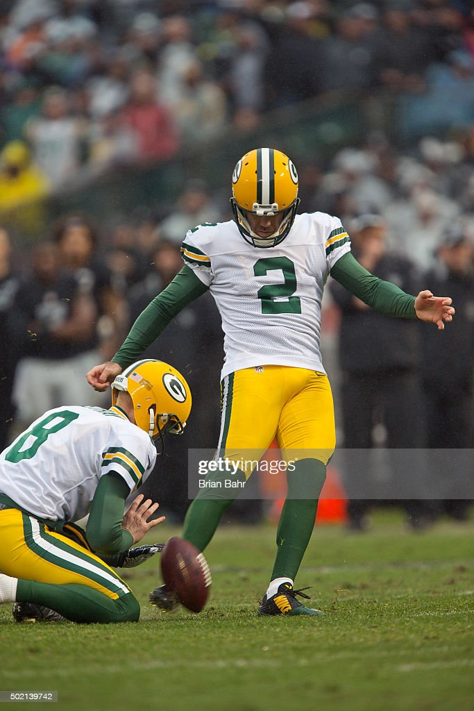 Kicker Mason Crosby #2 of the Green Bay Packers scores a field goal against the Oakland Raiders in the second half on December 20, 2015 at O.co Coliseum in Oakland, California. The Packers won 30-20.