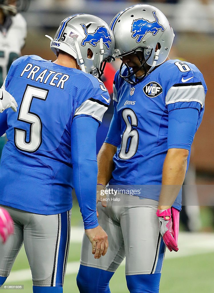 Kicker Matt Prater #5 of the Detroit Lions gets a head butt from holder Sam Martin #6 after Prater kicked the game winning field goal during fourth quarter action against the Philadelphia Eagles at Ford Field on October 9, 2016 in Detroit, Michigan. The Lions defeated the Eagles 24-23.