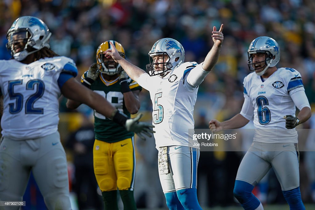 Kicker Matt Prater #5 of the Detroit Lions reacts after making his field goal in the third quarter against the Green Bay Packers at Lambeau Field on November 15, 2015 in Green Bay, Wisconsin.