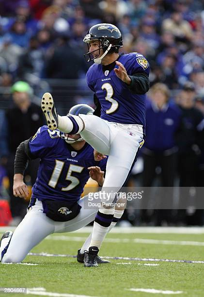 Kicker Matt Stover of the Baltimore Ravens kicks a field goal during the game against the San Fransisco 49ers on November 30 2003 at the MT Bank...