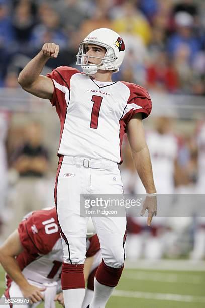 Kicker Neil Rackers of the Arizona Cardinals watches a field goal attempt against the Detroit Lions against the at Ford Field on November 13, 2005 in...