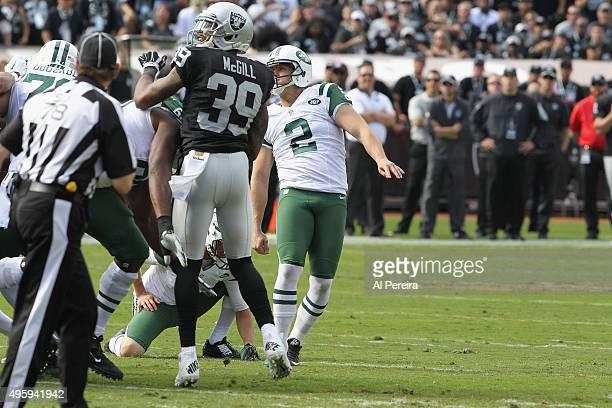 Kicker Nick Folk of the New York Jets hits a Field Goal against the Oakland Raiders at Oco Coliseum on November 1 2015 in Oakland California