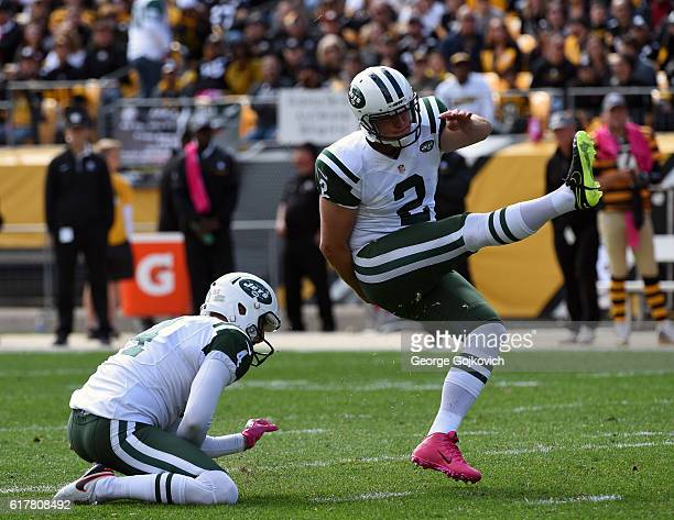 Kicker Nick Folk of the New York Jets kicks a 48yard field goal on a hold by Lachlan Edwards during a game against the Pittsburgh Steelers at Heinz...
