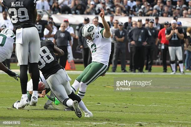 Kicker Nick Folk of the New York Jets kicks a Field Goal against the Oakland Raiders at Oco Coliseum on November 1 2015 in Oakland California