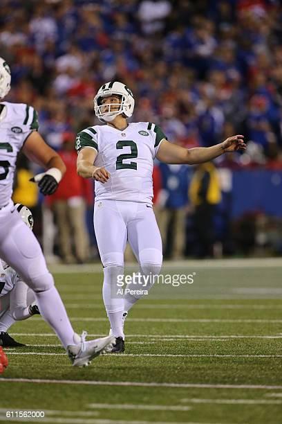 Kicker Nick Folk of the New York Jets kicks a field goal against the Buffalo Bills at Ralph Wilson Stadium on September 15 2016 in Orchard Park New...