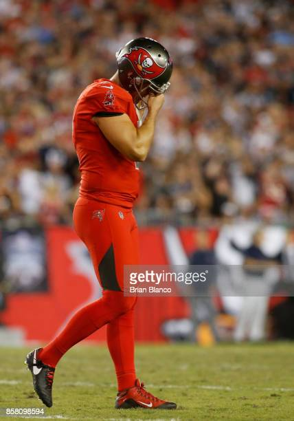 Kicker Nick Folk of the Tampa Bay Buccaneers reacts after missing a field goal during the fourth quarter of an NFL football game on October 5 2017 at...