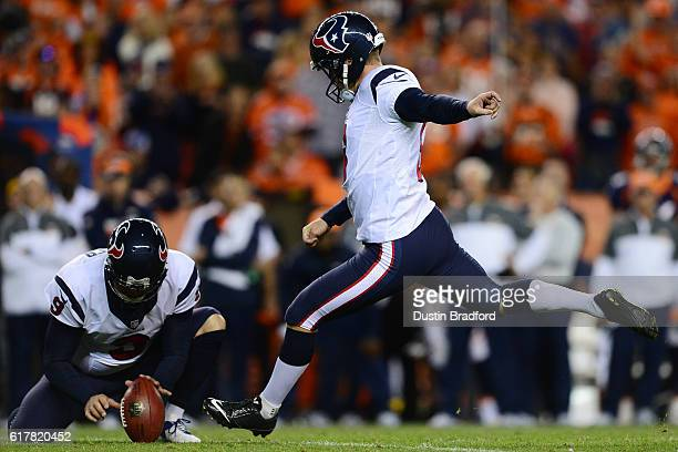 Kicker Nick Novak of the Houston Texans makes his third field goal of the game in the third quarter against the Denver Broncos at Sports Authority...