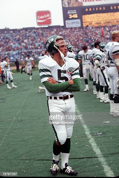 Kicker Pat Leahy of the New York Jets stands on the sideline during a game against the Cleveland Browns at Municipal Stadium on October 14 1984 in...
