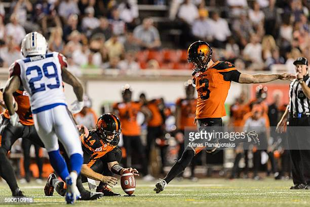 Kicker Richie Leone of the BC Lions prepares to kick the ball during the CFL game against the Montreal Alouettes at Percival Molson Stadium on August...