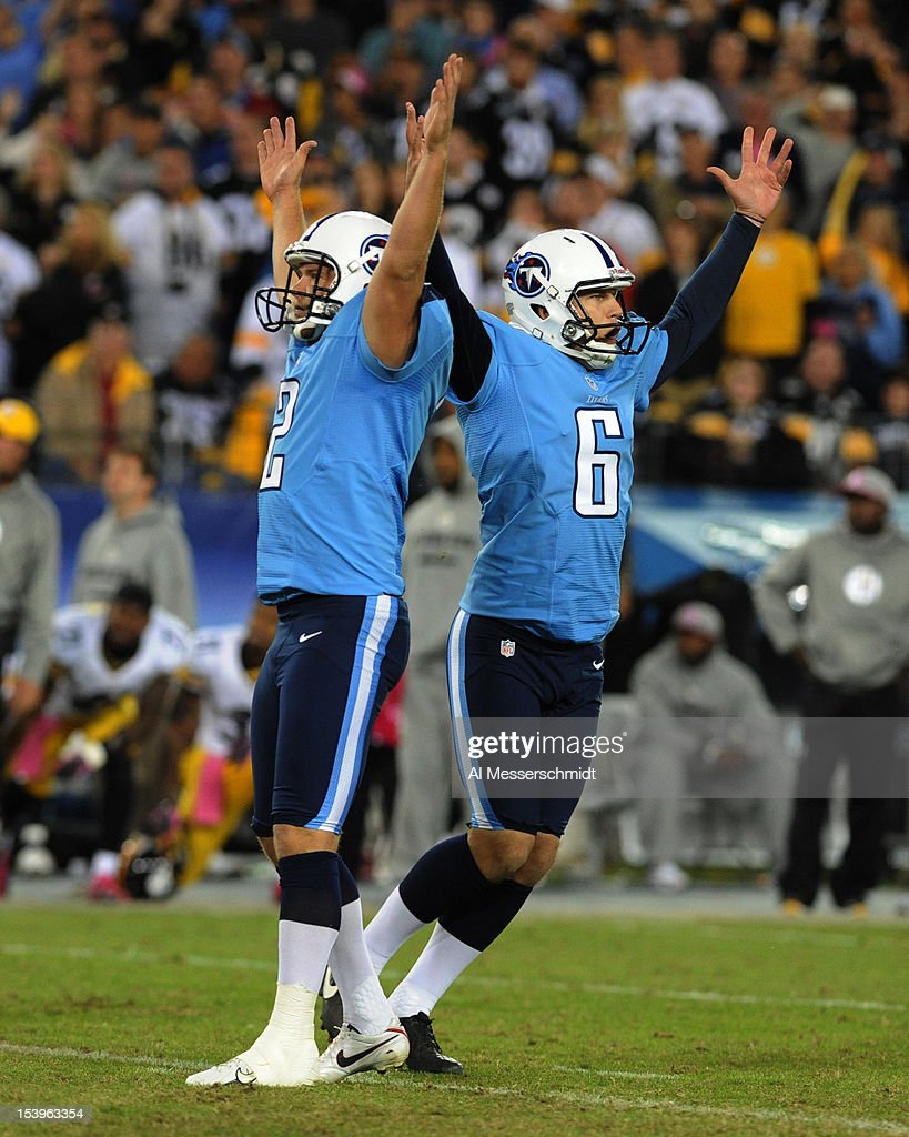 Kicker Rob Bironas #2 of the Tennessee Titans converts a game ending, 40 yard field goal for a 26 - 23 victory against the Pittsburgh Steelers in a Thursday Night Football game October 11, 2012 at LP Field in Nashville, Tennessee.