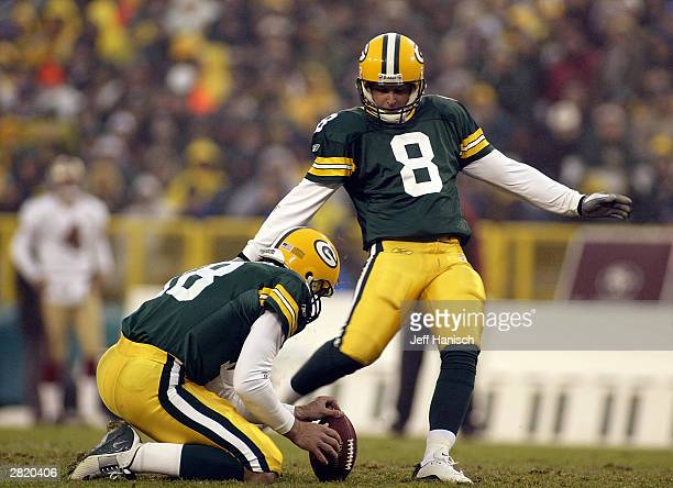 Kicker Ryan Longwell of the Green Bay Packers kicks the ball during the game against the San Francisco 49ers on November 23 2003 at Lambeau Field in...