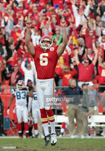 Kicker Ryan Succop of the Kansas City Chiefs celebrates after making a filed goal in overtime to win the game against the Buffalo Bills on October 31...