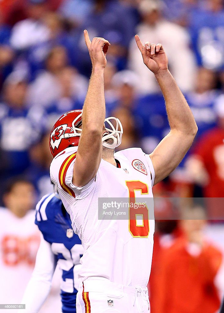 Kicker Ryan Succop #6 of the Kansas City Chiefs reacts after making a field goal in the third quarter against the Indianapolis Colts during a Wild Card Playoff game at Lucas Oil Stadium on January 4, 2014 in Indianapolis, Indiana.