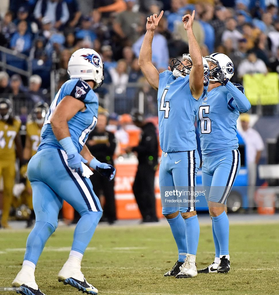 Kicker Ryan Succop #4 of the Tennessee Titans celebrates after kicking a field goal against the Jacksonville Jaguars during the second half at Nissan Stadium on October 27, 2016 in Nashville, Tennessee.