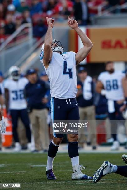 Kicker Ryan Succop of the Tennessee Titans celebrates after kicking a field goal against the San Francisco 49ers during the third quarter at Levi's...