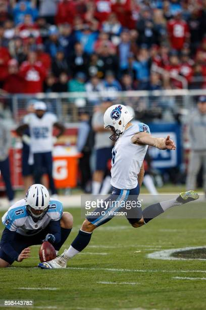 Kicker Ryan Succop of the Tennessee Titans kicks a field goal on a hold from Brett Kern during the fourth quarter against the San Francisco 49ers at...