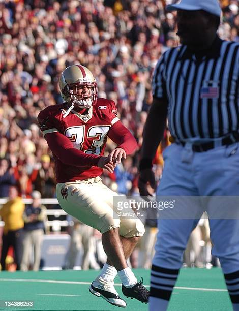 Kicker Sandro Sciortino celebrates after kicking the gamewinning goal during Boston College's 2725 victory over Notre Dame at Alumni Stadium in...