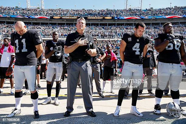 Kicker Sebastian Janikowski Wide Receiver Andre Holmes Head Coach Jack Del Rio Quarterback Derek Carr and Guard Gabe Jackson of the Oakland Raiders...