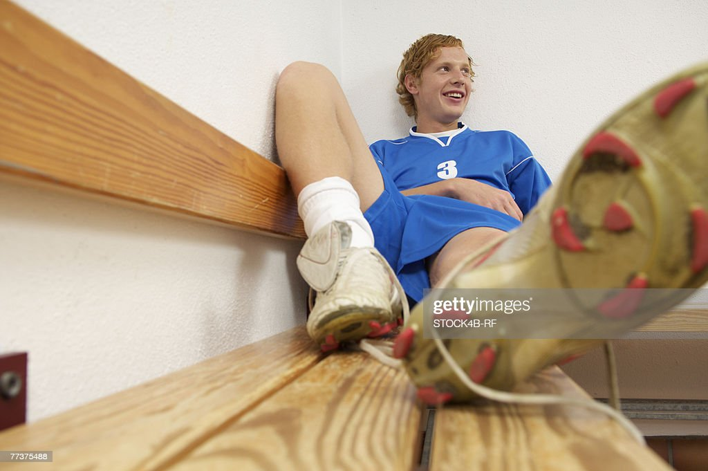 Kicker sitting in dressing room : Photo