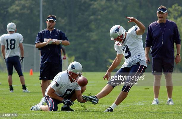 Kicker Stephen Gostkowski and punter Josh Miller of the New England Patriots work out during the first summer training camp practice on July 28 2006...