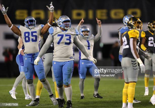 Kicker Taylor Bertolet of the Salt Lake Stallions celebrates a field goal during the third quarter of the Alliance of American Football game against...