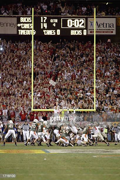 Kicker Todd Sievers of the University of Miami Hurricanes kicks the BCS Championship game-tying field goal against the Ohio State Buckeyes in the...