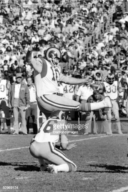 Kicker Tom Dempsey of the Los Angeles Rams, follows through on a kick during a game on November 16, 1975 against the Atlanta Falcons at Atlanta...