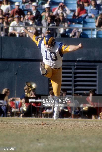 Kicker Tom Dempsey of the Los Angeles Rams kicks off against the Atlanta Falcons during an NFL football game at Atlanta-Fulton County Stadium...