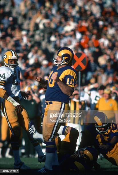 Kicker Tom Dempsey of the Los Angeles Rams looks on after kicking a field goal against the Green Bay Packers during an NFL football game at Los...