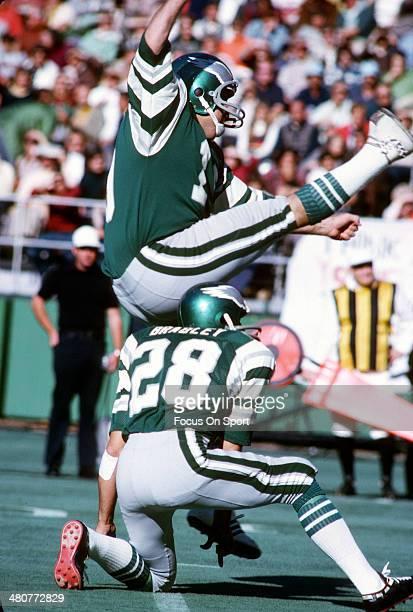 Kicker Tom Dempsey of the Philadelphia Eagles kicks a field goal against the Washington Redskins during an NFL football game at Veterans Stadium...